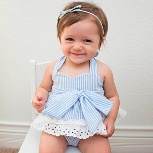 AMA(TM) Newborn Infant Baby Girls Summer Bowknot T-Shirt +Shorts +Headband Outfits Clothes Set (12-18M, Light (Del Amo 15 Light)