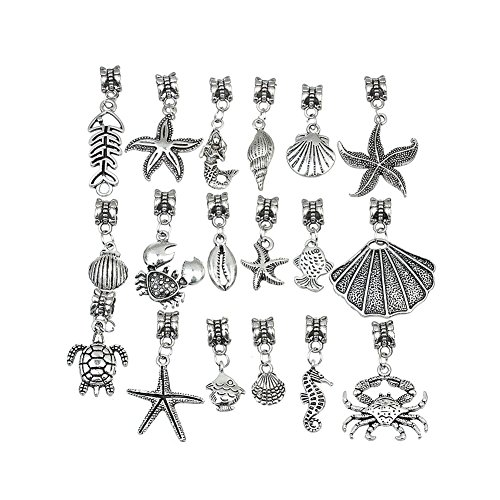 Linsoir Beads 20 pcs Mixed Nautical Charms Set Beach Charms Turtle Charms Sea Shell Pendant Octopus Pendant Crab Charm Pendant Bulk Wholesale Lots]()