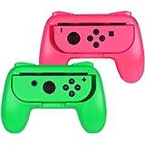 Hand Grips para Nintendo Switch Joy-Con Alomia, Nuevas fundas para Joy Con. Empuñaduras para mandos Joy-con, Diseño Ergonómico. Juego de manijas para controles, Color Verde y Rosa.