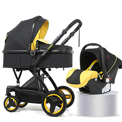 XYSQ Lightwight Carriage 2-in-1, Foldable Light and Easy to Carry, Sitting and Lying Lightwight Pram, Suitable for Traveling Newborn Pushchair (Color : Yellow)