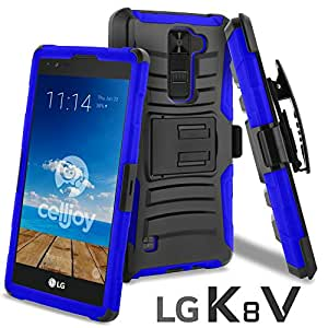 LG K8 V Case, CellJoy [Ultra Rugged] (ShockProof) For LG VS500 / K8V 2016 Verizon Reinforced Impact Bumper [Heavy Duty] Protection Cover With Kickstand [Locking Swivel Belt Clip Holster Combo] (Blue)