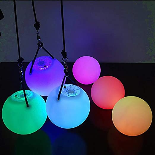 nhsunray LED POI Blanco 2PCS Glow Thrown Bolas Pelota para Profesional Danza del Vientre Plano Mano Destello Props