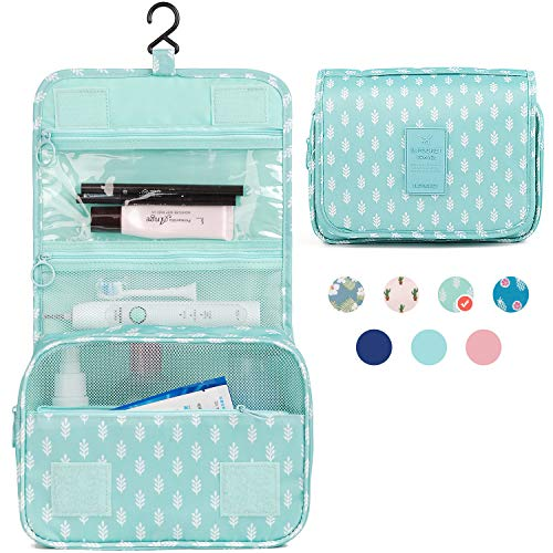 Hanging Travel Toiletry Bag Cosmetic Make up Organizer for Women and Girls Waterproof (Green Leaf)
