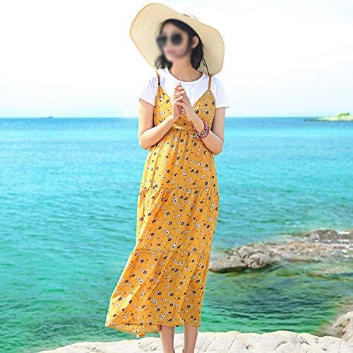 Dress Gelb Seaside Gelbes Sling Blumenkleid Strandkleid Frau Sommer xOvx0Yw4q