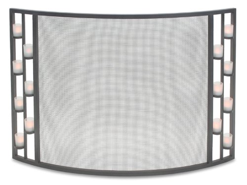 Pilgrim Home and Hearth 18342 Candlewood Tea Light Bowed Fireplace Screen, Natural Iron, 44″W x 31″H, 22 lbs, Irom