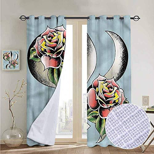 NUOMANAN Light Blocking Curtains Fleur De Lis,Artistic Design Roses,for Bedroom, Kitchen, Living Room 84