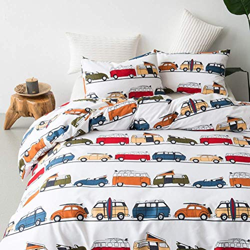 Leadtimes Car Queen Duvet Cover Set 3PC Duvet Cover Lightweight Soft Comforter Cover Set with Car Design (Car, Queen)