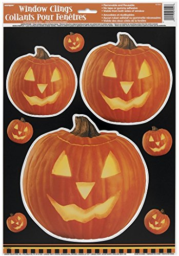 Carved Pumpkin Halloween Window Cling Sheet