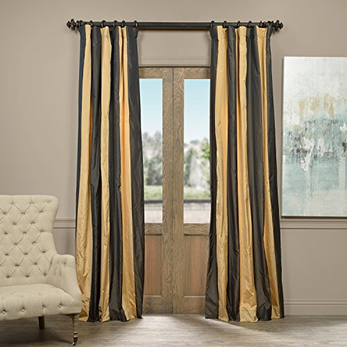 Half Price Drapes PTSCH-ST8007-84 Faux Silk Taffeta Stripe Curtain, Madrid, 50