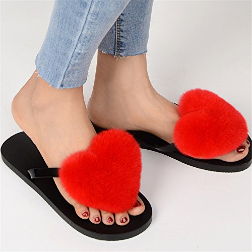 Fur Flop Women's qmfur Soft Rabbit Slide Flat Flip Heart Red Slipper PqgwIZ6