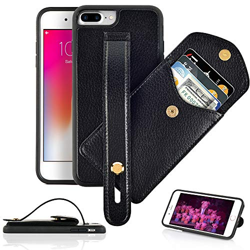 iPhone 8 Plus Wallet Case, iPhone 7 Plus Case with Kickstand, LAMEEKU Card Holder Case, Leather Case with Credit Card Holder Slot Hand Strap Pocket, Protective Cover for iPhone 8 Plus/7 Plus Black