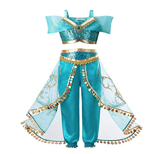 Ingsist Girls Jasmine Costume Dress Up Arabian Princess Dress Halloween Party ,120 -