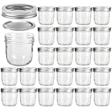 Wide Mouth Mason Jars 8 oz, VERONES 8 OZ Mason Jars Canning Jars Jelly Jars With Wide Mouth Lids and Bands, Ideal for Jam, Honey, Wedding Favors, Shower Favors, Baby Foods, 24 PACK
