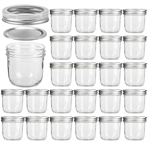 Wide Mouth Mason Jars 8 oz, VERONES 8 OZ Mason Jars Canning Jars Jelly Jars With Wide Mouth Lids, Ideal for Jam, Honey, Wedding Favors, Shower Favors, Baby Foods, 24 PACK ()