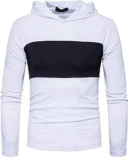 IOSHAPO Camiseta Manga Larga de Hombre Raglan Manga Larga Suelta Sweater Colorblock Sudadera con Capucha