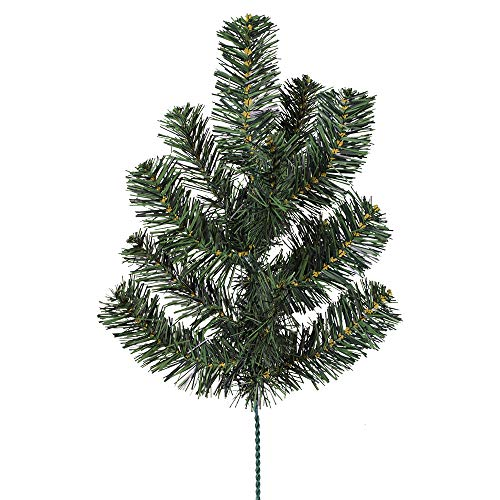 Pack of 4 Indoor/Outdoor Artificial Canadian Pine Spray Greenery - 15.5 Tall Christmas Filler Greenery Bridal Bouquet Silk Wedding Flowers Centerpieces Holiday Decorations Artificial Pick
