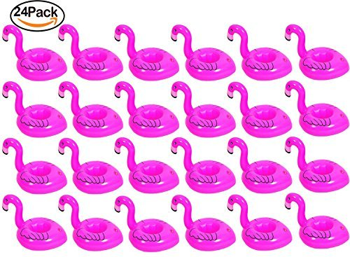 Yourrs 24 pcs Pink Flamingo Drink Pool Float, Flamingo Inflatable Drink Coasters Holder Floating Can Coke Cup Stand Station Pool Swim Floats for Water Fun Kids Bath, Pool Beach Parties]()