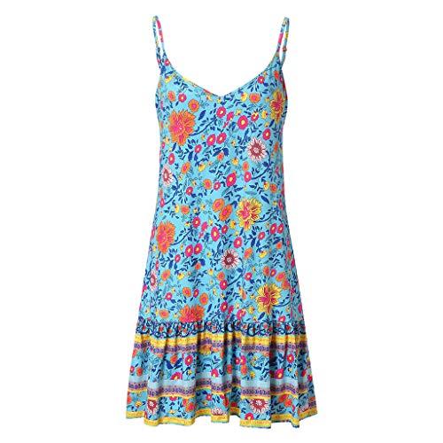 Kulywon Boho Dress Women Sexy Printed V-Neck Sleeveless Sling Adjustable Ruffled Loose Mini Dress Blue