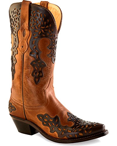 Old West Brown Womens Fancy Overlay Snip Toe Cowboy Western Boots 9 B