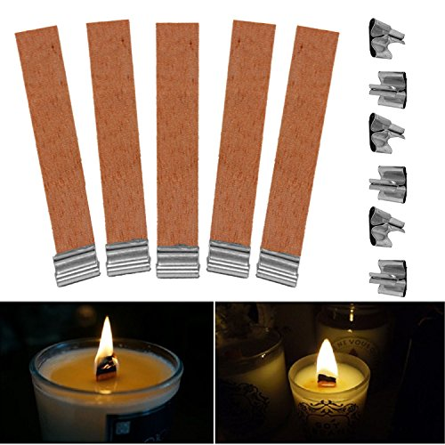 (10Pcs 8mm x 90mm Candle Wood Wick with Sustainer Tab Candle Making Supply )