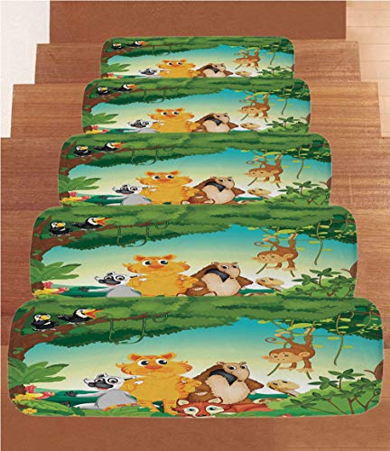 Non-Slip Carpets Stair Treads,Zoo,Forest Scene with Different Animals Habitat Jungle Tropical Environment Kids Cartoon Decorative,Multicolor,(Set of 5) 8.6''x27.5'' by iPrint