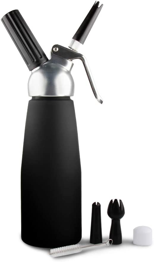 Amazon.com: Whipped Cream Dispenser by Sivaphe Professional Aluminum Cream  Whipper Fancy Desserts Maker Gourmet Whip Culinary 500ML/1 Pint- Compatible  7.5g-8g N2O Cream Chargers (Not Included) Black: Kitchen & Dining