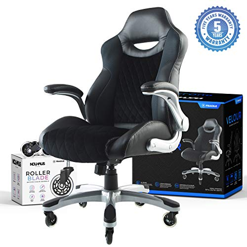 The Gaming Chair by Nouhaus! Velvet Computer Chair with Retractable Armrest with Extra Bonus Blade Wheels. Swivel Game Chair for Gaming Desk! Ergonomic Office Chair or Racing Gamer Chairs for Adults
