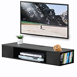 FITUEYES Wall Mounted Audio/Video Console Wood Gra...