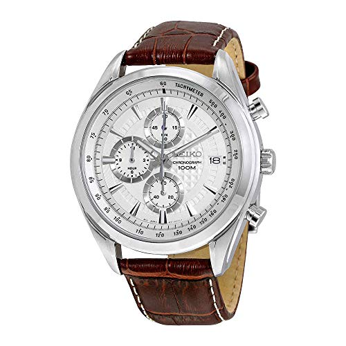 (Seiko Chronograph SSB181 Silver Tone Dial Brown Leather Band Men's Watch)