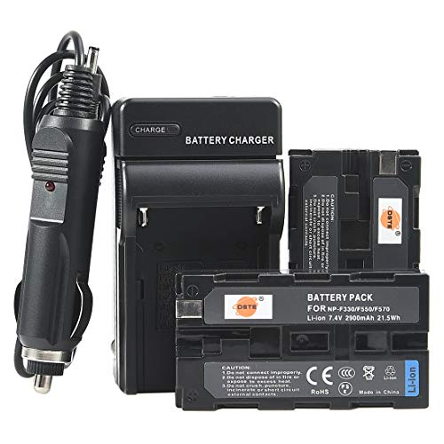 Ccd Light - DSTE 2 Pack NP-F330 NP-F550 NP-F570 NP-F550/5 Battery + Travel Charger Compatible for Sony NP-F770,NP-F750,NP-F970,CCD-TR200,CCD-TR205,CCD-TR215 Camera,PT-176S CN-160 OE-160 CN-216 LED Video Light