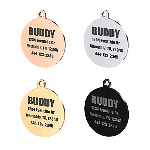 Round Stainless Steel Pet ID Tags, Personalized Dog Tags for Free Engraving Front & Back (Small, Black) (Medium Finish Caramel)