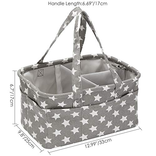 Hinwo Baby Diaper Caddy 3-Compartment Infant Nursery Tote Storage Bin Portable Car Organizer Newborn Shower Basket with Detachable Divider and 10 Invisible Pockets for Diapers & Wipes (Star)