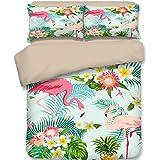Dodou Flamingos Tropical Plant Pattern Bedding Sets Girls Woman Fresh Garden Style Bedding Sets 100% polyester Duvet Cover Sets 3pcs (Full)