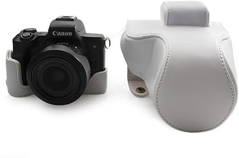 Canon EOS M50, kinokoo Estuche Completo para Canon EOS M50 y Lente de 15-45 mm, Estuche Protector de la Funda de Cuero de la PU (Blanco): Amazon.es: Electrónica