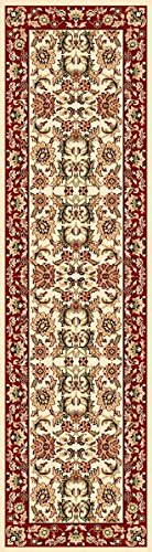 "KAS Oriental Rugs CAM730322X711 Cambridge Collection Kashan Runner, 2'2"" x 7'11"", Ivory/Red - 2'2"" x 7'11"" Runner in size Machine-Made 100-Percent Heat-set Polypropylene - runner-rugs, entryway-furniture-decor, entryway-laundry-room - 51UUjSqS8VL -"