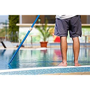 Aquatix Pro Swimming Pool Pole, 4 to 12 Feet, Professional Aluminium Telescopic Pole by, Best for Skimmer Nets, Vacuum Heads and Brushes, Strong Grip & Lock, Ribbed Finish, 1.1mm Commercial Thickness