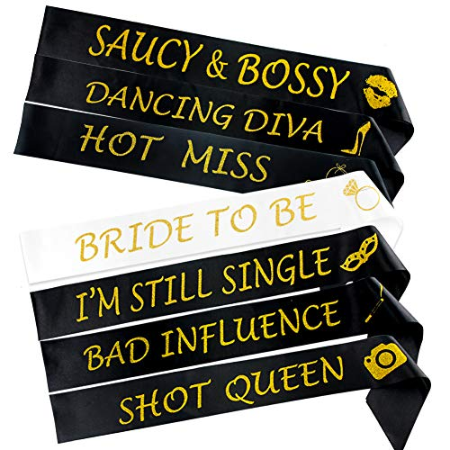 7 Pcs Bachelorette Party Sashes, Bride To Be Sash and 6 Funny Bridesmaid Sashes for Bridal Shower Hen Party Wedding Party Supplies with Safety Pins