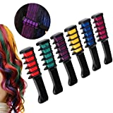 LIGE Temporary Hair Chalk Set - 6 Colors Washable Hair Chalk With Comb - Great For Dress Up, Performance Costumes And Temporary Color for Girls (6PC Chalk Comb)