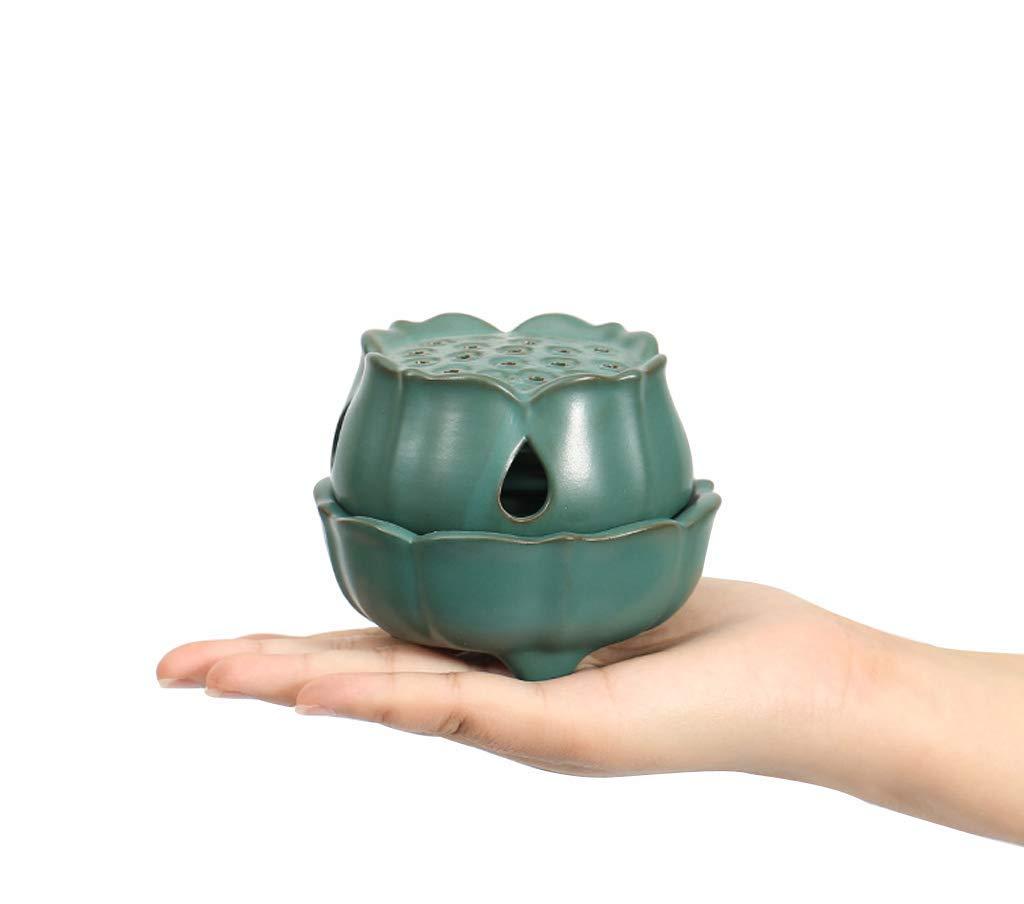Ceramic Coil Incense Holder Yoga Ceramic Lotus Incense Burner Small Size for Tower Ornaments Short Stick Incense Green Buddha Incense Burner 2H//4H Coil Incense Meditation Powder Incense