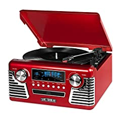 Victrola 50's inspired Record Player is designed to be blast from the past. But don't let its fun, retro design fool you - its loaded with all music playing technology of the past 70 years. Model V50-200.