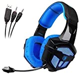 [2016 Newest Multi-Platform Headset] SADES SA806 Stereo Gaming Headset 3.5mm USB Led Light Computer Headphones with Microphone for [New Xbox One] Laptop PC PS4 Mac(Black-Blue)
