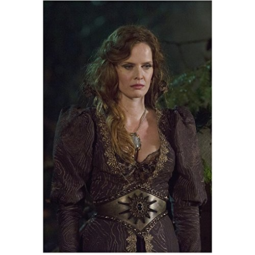 Rebecca Mader Once Upon a Time standing in dark brown ornate dress looking down slightly 8 x 10 Inch Photo