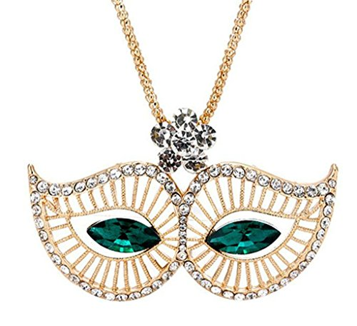 Emo Girl Mask Costume (Epinki Women Stainless Steel Necklace Cubic Zirconia Mask Statement Necklace Pendant Green 80Cm)