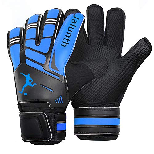 Soccer Goalie Goalkeeper Gloves - Kids Youth Adults Goalie Gloves with Finger Protection Anti-Slip Latex Palm and Soft PU Hand Back (Blue, 6)