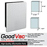 Sharp Non-OEM FP-A60UW HEPA Air Purifier Filter and 2 Carbon Pre-Filters Replaces FZ-A60HFU FZ-A80HFU by GoodVac