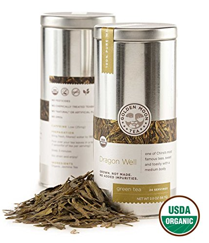 Golden Moon Tea - Dragon Well Tea - Organic - Loose Leaf - Non GMO - 2oz Tin - 24 Servings - Organic Dragon Well