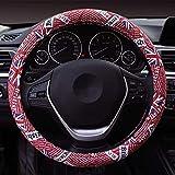 Hsdris Steering Wheel Cover Universal 15 inch British Flag Pattern Linen Fabric Wear Resistant Non-Slip Comfortable Four Seasons Universal - B