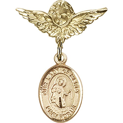 14kt Yellow Gold Baby Badge with Our Lady of Mercy Charm and Angel w/Wings Badge Pin 1 X 3/4 inches by Bonyak Jewelry Saint Medal Collection