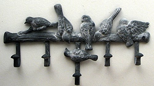 Multi Bird Hook Gray Cast Iron Coat Jacket Wall Rack (Retirement Cookie Bouquet)