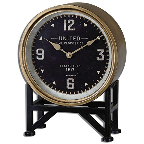 Uttermost' Shyam Brass and Aged Black Stand Desk Clock - 06094